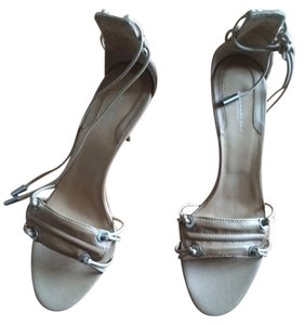 Donna Karan Ankle Strap Open Toe Classic Sporty Leather Nude/Tan Sandals