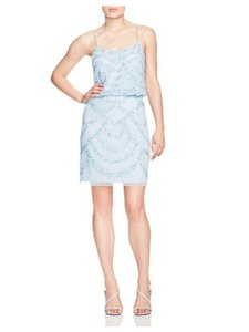 Aidan Mattox Mint Blue Embellished Blouson Dress Dress