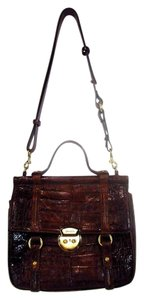 Brahmin Alligator Leather Satchel in Brown