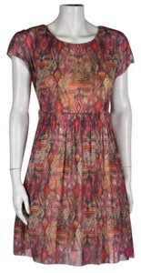 Weston Wear Womens Petite Printed Cap Sleeve Above Knee Sheath Dress