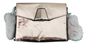 Alexander Wang Metallic Leather Rabbit Fur Metallic Pink Clutch