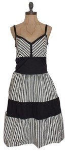 Anthropologie short dress BLACK & IVORY Maple Striped Flare Tea on Tradesy