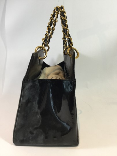 Chanel Patent Leather Purse Tote Satchel in Black
