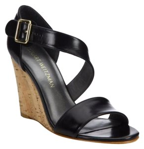 Stuart Weitzman Leather Wedge Black Sandals