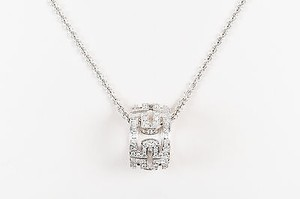 BVLGARI Bulgari 18k White Gold Pave Diamond Parentesi Pendant Necklace
