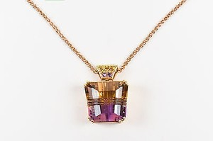 18k Rose Yellow Gold Citrine Amethyst Ametrine Pendant Necklace