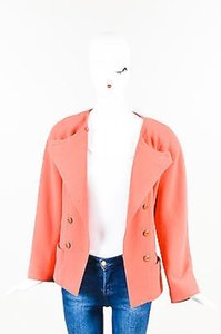 Chanel Boutique Coral Wool Crepe Double Breasted Cc Button Orange Jacket