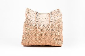 Miu Miu Blush Nappa Matelasse Quilted Leather Chain Handle Tote in Pink