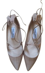 Jimmy Choo Leather Lace Patent Leather Blush Nude Flats