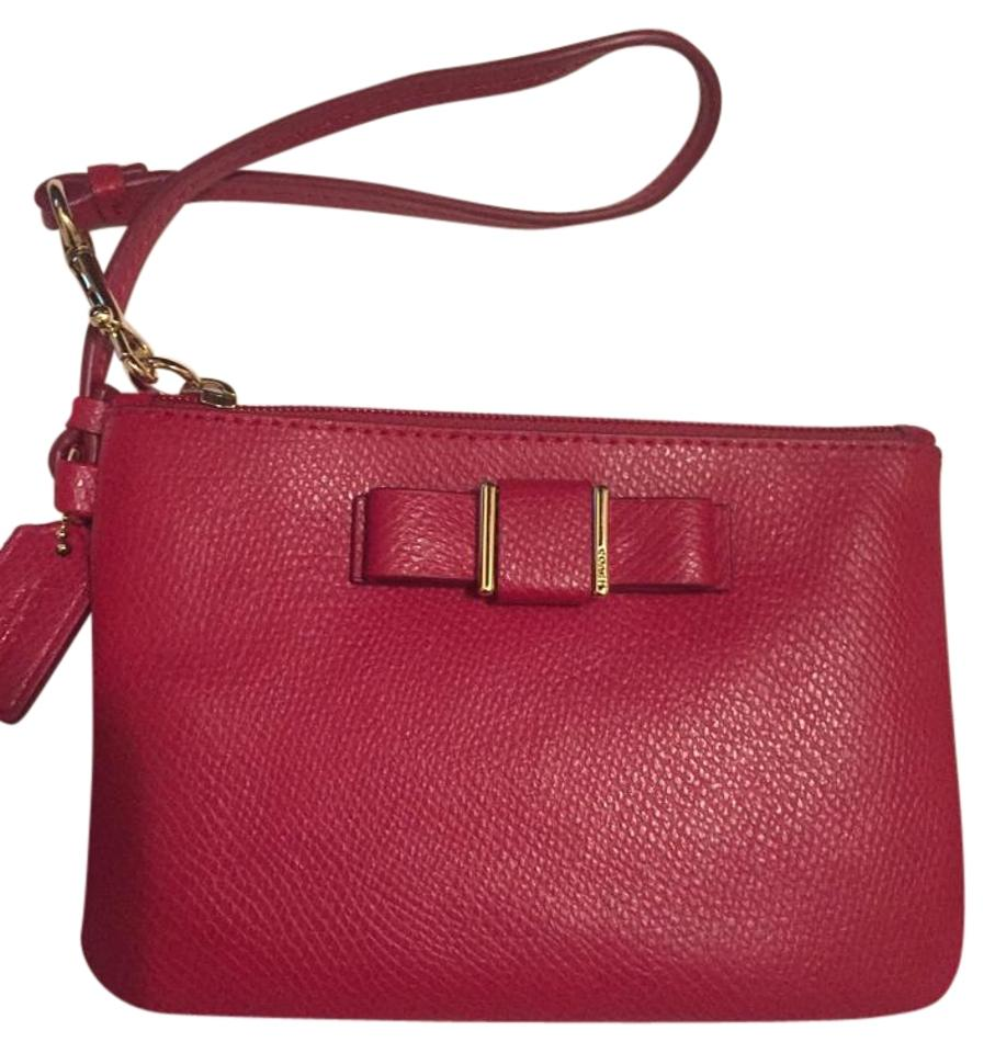 Coach Red Xgrain Leather Bowed Wristlet Wallet - Tradesy d279192af4f7d