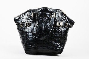 Saint Laurent Yves Quilted Patent Leather Downtown Tote in Black