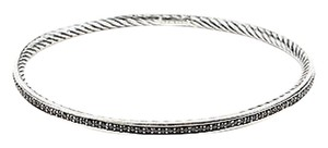 David Yurman David Yurman Sterling Silver Black Diamonds Cable Inside Bangle Bracelet