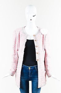 Chanel Vintage Boutique 93p White Tweed Camellia Pink Jacket