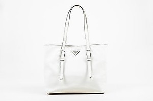 Prada Textured Leather Dual Handle Saffiano Soft Tote in White