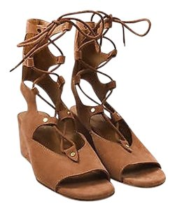 Chloé Chloe Suede Lace Up Brown Sandals