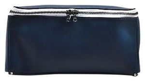 Otaat Navy White Leather Blue Clutch