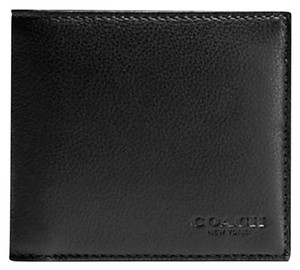 Coach New! Coach Double Billfold Sport Calf Leather Black Wallet F75084