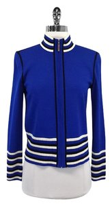 St. John Blue Striped Knit Zip Jacket