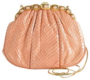 Judith Leiber Exotic Pretty Snake salmon pink Clutch