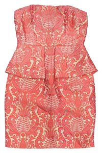Laundry by Shelli Segal short dress Pink Gold Metallic Brocade Peplum on Tradesy