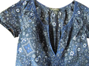 Eddie Bauer 100% Cotton Floral And More Blue Summery Peasant Top Navy & White