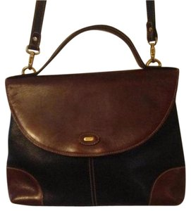 Bally Body Gold Hardware Petite But Roomy Popular Style Mint Vintage Satchel in black & brown leather