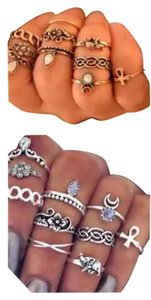 New Boho Antique Silver or Antique Gold Midi 10pc Ring Set