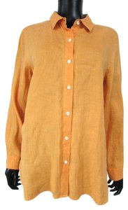 J. Jill Linen Big Shirt Long Sleeve Collared Button Down Shirt Orange
