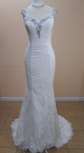 DaVinci Bridal Ivory Lace 50307 Formal Wedding Dress Size 8 (M)