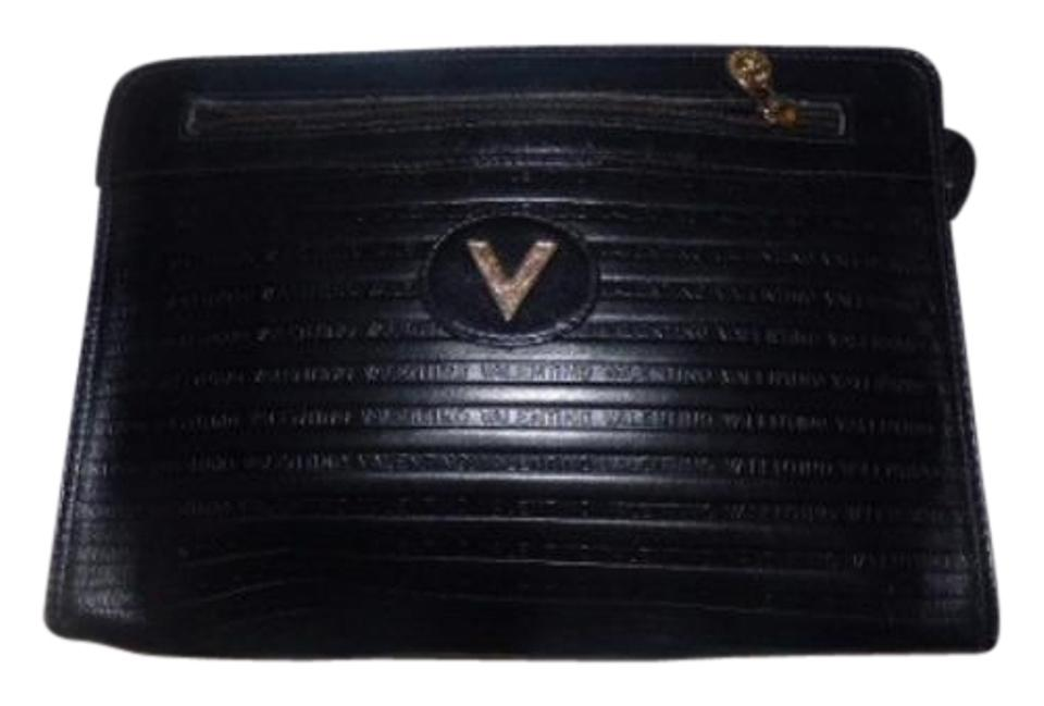 5cc94c75c40 Valentino Mint Vintage Dressy Or Casual Exterior Pockets Gold Hardware Black  ribbed and 'Valentino' ...