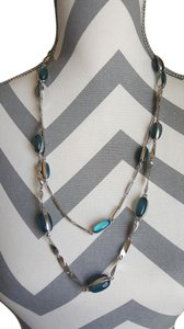Coldwater Creek Coldwater Creek Silver Double Chain Necklace with Aqua Stones