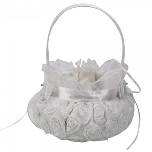 Quantity Of 2 Ivory Flower Girl Basket With Vintage Inspired Rose Embroidered Detail