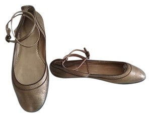 J.Crew Ballet Leather Ankle Strap Bronze Flats