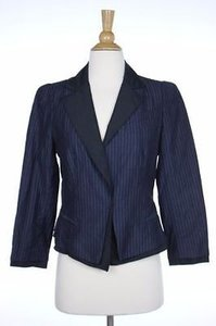 DKNY Dkny Womens Blue Striped Blazer Long Sleeve Wool Basic Jacket