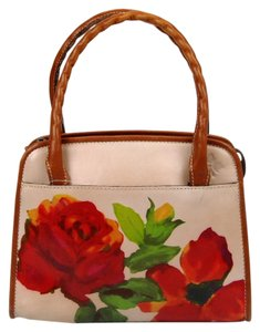Patricia Nash Designs Leather Floral Satchel in Rosewood