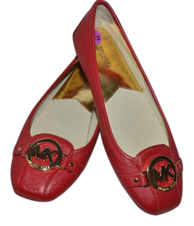 ef41f89fc1f6 Michael Kors Red Saffiano Leather Fulton Moc Ballet Loafers Flats ...
