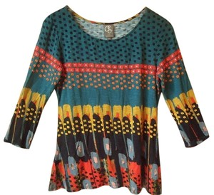 Anthropologie Colorful Print Abstract Knit 3/4 Sleeves T Shirt