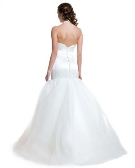 Christina Wu White/Silver Or Ivory/Silver Satin & Tulle 5433 Modern Wedding Dress Size 10 (M)