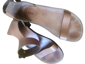 Chloé Chloe Gold Heel Tan Sandals
