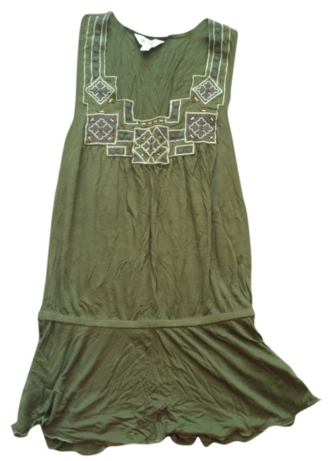 Item - Green and Gold Beaded Comfortable Classic Tunic Size 2 (XS)