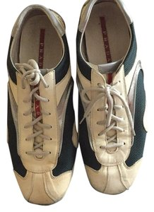 Prada Sneakers Used White / Blue / Silver Athletic