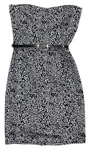 Trina Turk short dress Black White Strapless Print on Tradesy