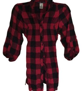 Love Squared Button Down Shirt Red and black