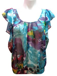 Forever 21 Cap Sleeve Sheer Top Multi-Color