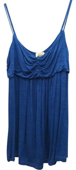 Ella Moss Camilsole Made In Usa Sleeveless Designer Ruched Gathered Draped Flowy Strappy Top Blue