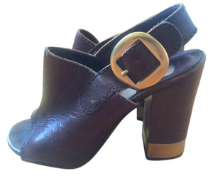 Chloé Chloe Leather High Heel Brown Sandals