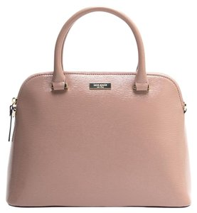 Kate Spade Patent Leather Structured Satchel in beige