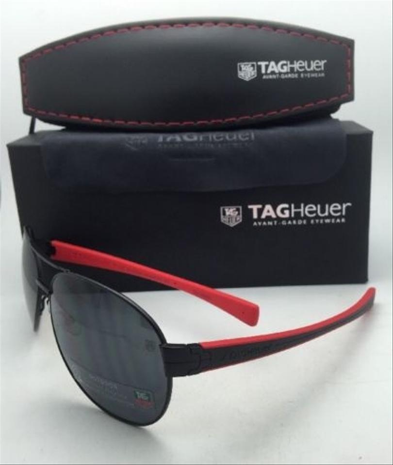 032b8880b8149 TAG Heuer Th 0256 110 64-15 Black   Black-red W Outdoor Grey Lens New Red W Outdoor  Sunglasses - Tradesy