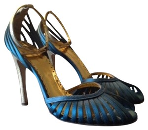 BCBGMAXAZRIA Teal/Gold Sandals
