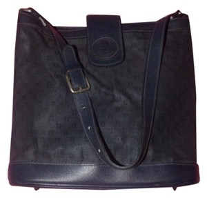 Fendi Popular Style Satchel in navy blue early small F logo print canvas & navy leather